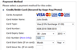 Screenshot showing streamlined integration of Ceon Sage Pay Direct payment form on the checkout payment page.