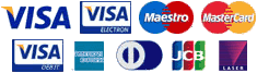 Accept Visa, MasterCard, Maestro, American Express, Visa Debit, Visa Electron, MasterCard Debit, Diners Club International, JCB and Laser cards!